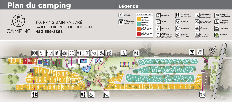 Plan camping 1530 - Terrain de Camping 1530 - Tourisme / Destination Montérégie - Pret a Camper - Camping insolite - Ou dormir / Hébergement